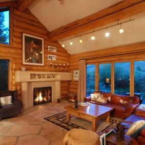 Освещение большой гостиной в загородном доме