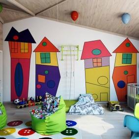 Оформление акцентной стены в игровой комнате
