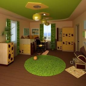 Зеленый потолок в комнате для игр