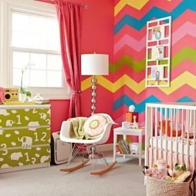 Цветные полоски на крашенных стенах