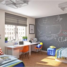 Грифельная стена в дизайне детской комнаты