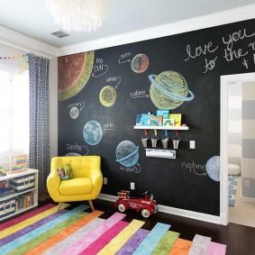 Рисунки планет солнечной системы на грифельной стене