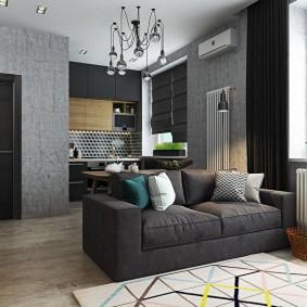 Интерьер однушки с серой мебелью