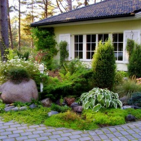Садовая клумба с хвойными растениями