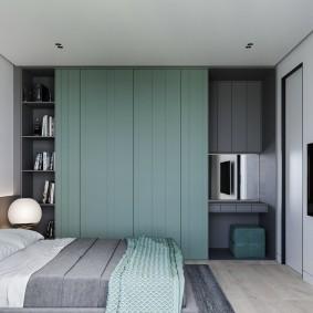 Серый интерьере спальной комнаты