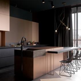 Темная мебель на кухне в стиле хай-тек