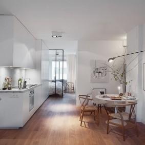 Деревянный пол в квартире скандинавского стиля