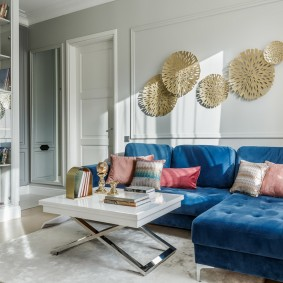 Синий диван угловой планировки