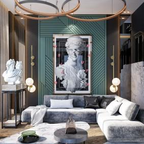 Смешанный стиль оформления интерьера гостиной