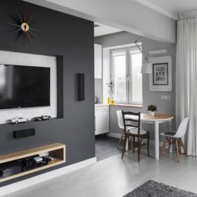 Серая стена в интерьере квартиры