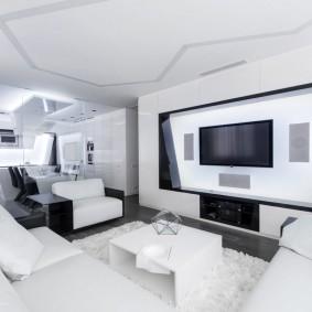 Белая мебель в квартире стиля хай тек