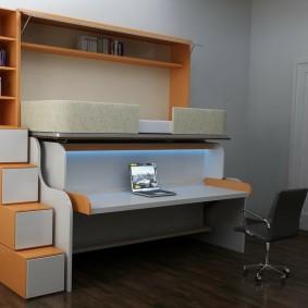 Кровать-трансформер с компьютерным столом