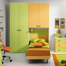 Яркая окраска фасадов детской мебели