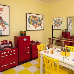 Желтые акценты в интерьере детской комнаты
