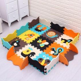 Детский коврик с бортиками из модулей