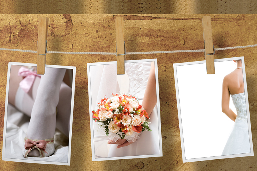 Подвешивание фотографий невесты на бельевых прищепках