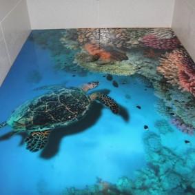 Наливной пол с 3d эффектом в ванной комнате