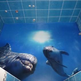 Дельфины на полу в санузле квартиры