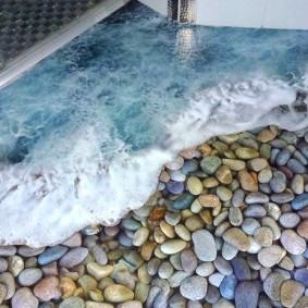 Морской прибой на полу в ванной