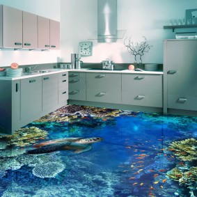 Угловая кухня с наливным полом