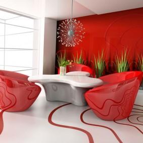Красные кресла для гостиной в стиле хай-тек