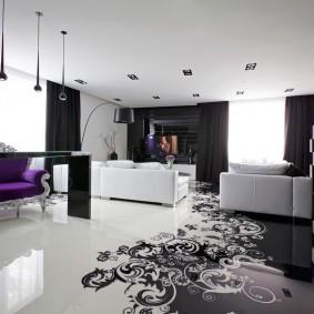Замысловатые узоры на полу гостиной в современном стиле