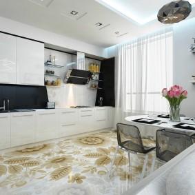 Линейный гарнитур в кухне-столовой