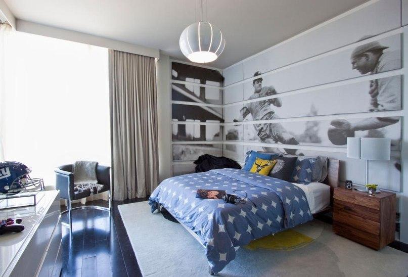 Черно-белые фото обои в комнате мальчика
