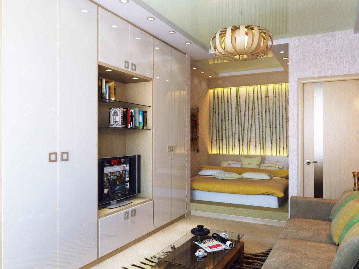 большой шкаф в однокомнатной квартире фото отражающие