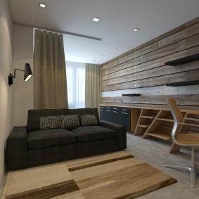 Деревянные панели на стене однушки