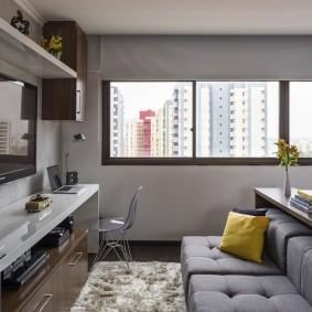 Покраска стен гостиной в серый цвет