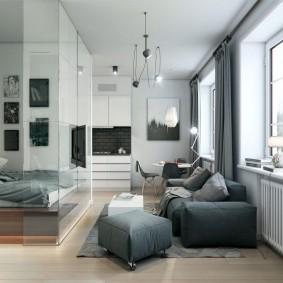 Серая мебель в небольшой квартире