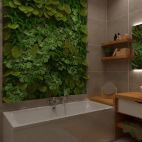 Панно из декоративных растений над акриловой ванной