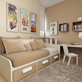 Кровать с выдвижными ящиками для девочки подростка