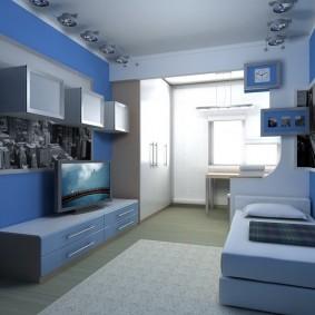 Голубая мебель в комнате мальчика-школьника