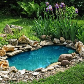 Небольшой водоем с каменистыми берегами