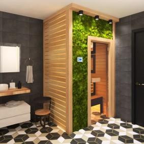 Живые растения в интерьере ванной комнаты