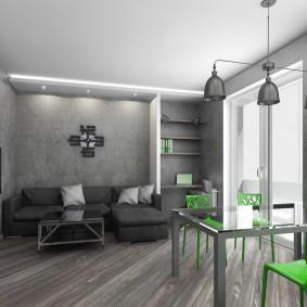 Зеленые стулья в серой комнате