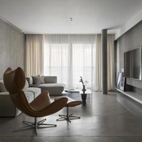 Серый пол в квартире современного стиля