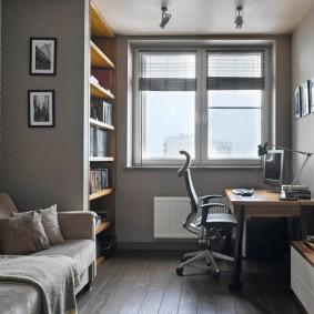 Серый цвет в интерьере домашнего кабинета
