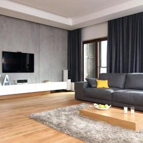 Декорирование окон в гостиной стиля минимализма