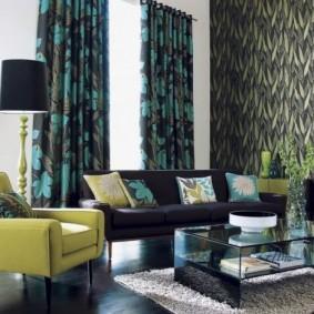 Черно-зеленые шторы из плотного материала