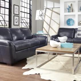 Кожаная мебель в интерьере гостиной