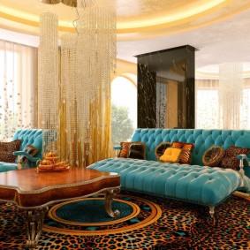 Яркий интерьер гостиной в квартире кирпичного дома