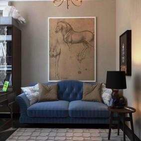 Современная живопись в интерьере гостиной