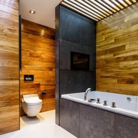Ламинат в интерьере совмещенной ванной комнаты