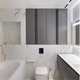 Подвесной шкафчик с серыми фасадами