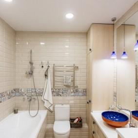 Отделка пола ванной в стиле пэчворк