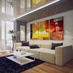 Модульные картины в комнате стиля хай тек