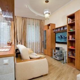 Корпусная мебель в гостиной с диваном